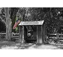 Shelter with Flag Photographic Print