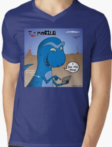 T-Rex Mobile Cell Phone and Texting or T-rexting Mens V-Neck T-Shirt