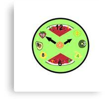 Green Food Clock Canvas Print
