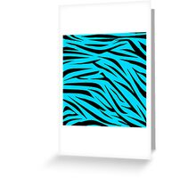 Teal and Black Zebra Stripes Greeting Card
