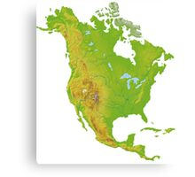 North America Physical Map Canvas Print