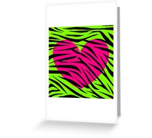 Pink Heart Lime Green Zebra Greeting Card