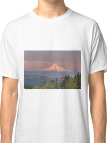 Mount Hood Alpenglow Sunset Classic T-Shirt