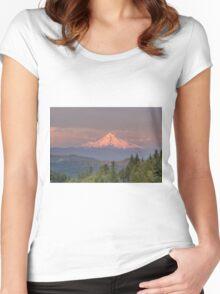 Mount Hood Alpenglow Sunset Women's Fitted Scoop T-Shirt