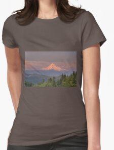 Mount Hood Alpenglow Sunset Womens Fitted T-Shirt
