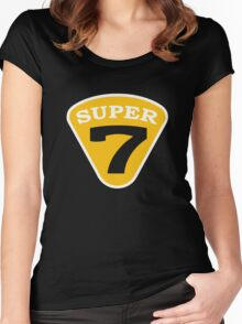 SUPER 7 Badge Cutout Number Women's Fitted Scoop T-Shirt