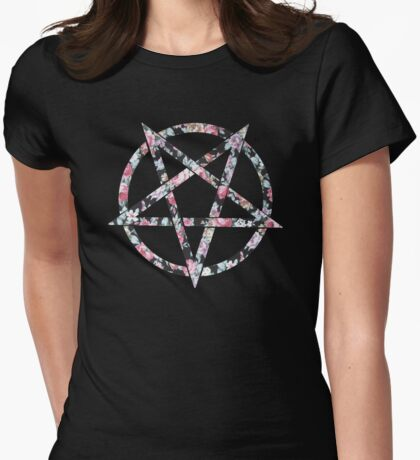 Floral Pentagram Womens Fitted T-Shirt