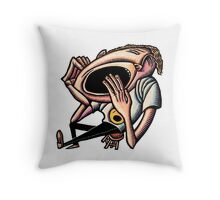 Yawning Bored Man Throw Pillow
