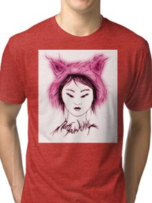 Cat Tee, Not your Kitty - Pink Tri-blend T-Shirt