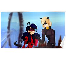 Ladybug with her Black Cat in London Poster