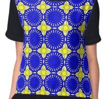 Yelllow Suns and Blue Shells Chiffon Top