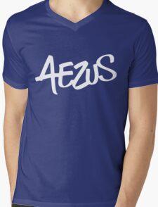 White Aezus Logo Mens V-Neck T-Shirt