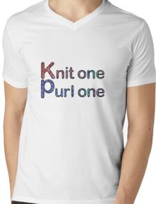 Knit one purl one Mens V-Neck T-Shirt