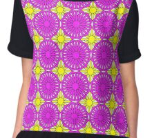 Yelllow Suns and Lavender Shells Chiffon Top