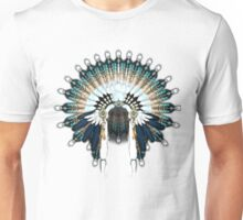 Native American War Bonnet In Silver and Blue Unisex T-Shirt
