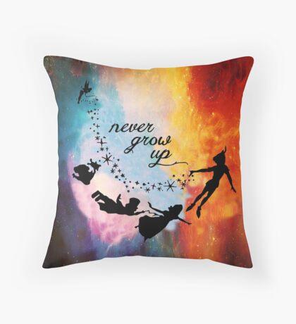 Nebula Never Grow Up Throw Pillow
