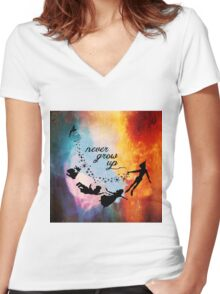 Nebula Never Grow Up Women's Fitted V-Neck T-Shirt