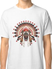 Native American War Bonnet in Red and Ivory Classic T-Shirt