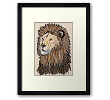 Abstract coloured lion line drawing Framed Print