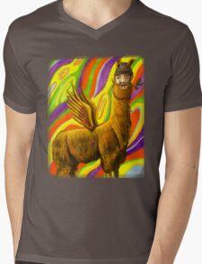 The Flying Llama Dude Mens V-Neck T-Shirt