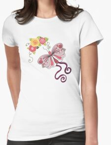Pink Butterfly And Flowers T-Shirt