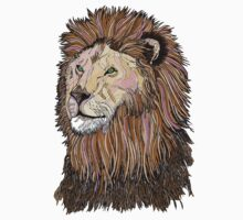 Abstract coloured lion line drawing Kids Tee