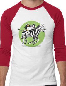 Black and White Buddies Men's Baseball ¾ T-Shirt