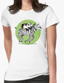 Black and White Buddies Womens Fitted T-Shirt