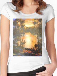 Sunset on Brisbane River Women's Fitted Scoop T-Shirt