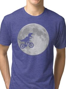 Dinosaur Bike and Moon Tri-blend T-Shirt