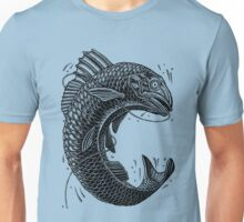 Black and White Jumping Trout Unisex T-Shirt