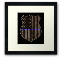 Thin Blue Line American Flag Police Badge Framed Print