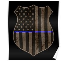 Thin Blue Line American Flag Police Badge Poster