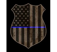 Thin Blue Line American Flag Police Badge Photographic Print