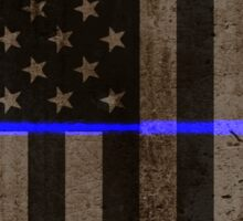 Thin Blue Line American Flag Police Badge Sticker