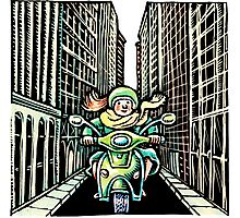 Woman on Vespa in New York Photographic Print