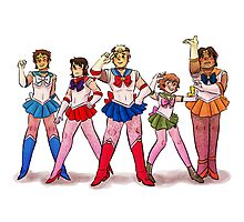 Sailor Voltron White Photographic Print
