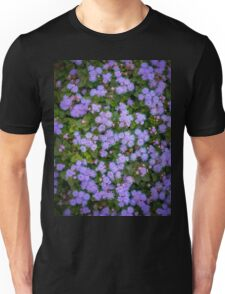 Purple flowers as background.  Unisex T-Shirt