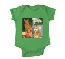 Canine and Feline Collage One Piece - Short Sleeve