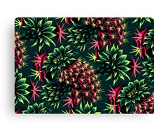Cactus Floral - Green/Black/Pink Canvas Print