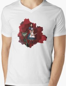 Alice Madness Returns And The Cheshire Cat Mens V-Neck T-Shirt