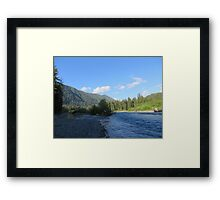 Pacific Northwest River, Mountain and Blue Sky Framed Print