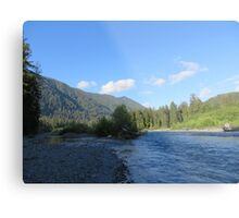 Pacific Northwest River, Mountain and Blue Sky Metal Print