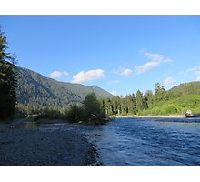 Pacific Northwest River, Mountain and Blue Sky Photographic Print