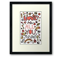 Love is All You Need Typography Framed Print