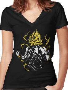 Super Saiyan 2 Women's Fitted V-Neck T-Shirt