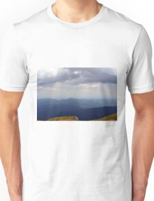 Natural scenery with mountains and cloudy sky. Unisex T-Shirt