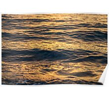 Sea surface at sunset. Poster