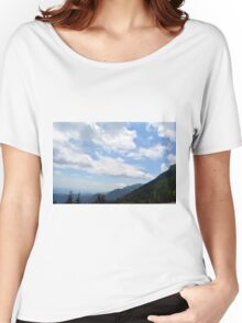 Natural scenery with mountains and cloudy sky. Women's Relaxed Fit T-Shirt