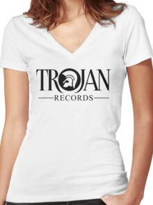 TROJAN RECORDS LOGO 3 Women's Fitted V-Neck T-Shirt